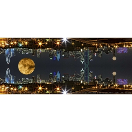 Dallas Skyline Mirror Supermoon