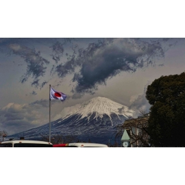 Mount Fuji and Flag