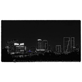 Fort Worth Skyline at Night. Selective Color with Violet