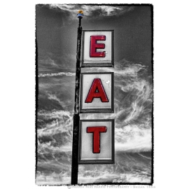 EAT Sign Selective Color Route 66