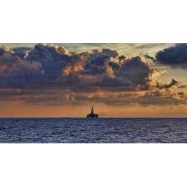 Oil Rig Sunrise Panorama
