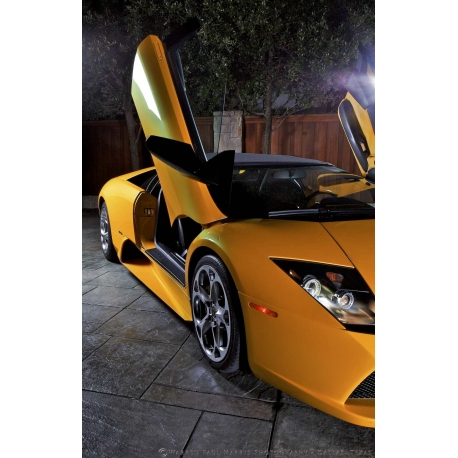 A Yellow Lamborghini Murceilago Exotic Car With Both Doors Up