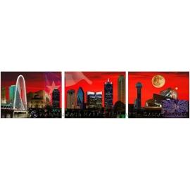 Dallas / Fort Worth Skyline Triptych